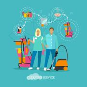 House cleaning service concept vector illustration in flat style. Housekeeping - stock illustration