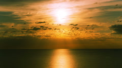 4k.Sea  morning sunrise with solar road reflection . Timelapse without birds. Stock Footage