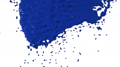 Blue paint flows down over screen in slow motion Stock Footage