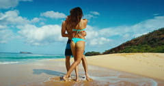 Romantic Couple on the Beach - stock footage