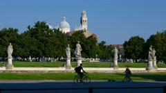 Padua - Prato della Valle and the Santa Giustina church Stock Footage