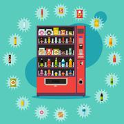 Vending machine with product items. Vector illustration in flat style. Food and - stock illustration