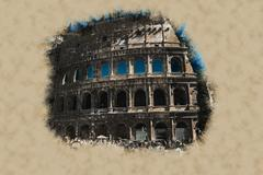The Colosseum, an important monument Stock Illustration