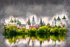 Izmaylovo Kremlin in Moscow, Russia Piirros