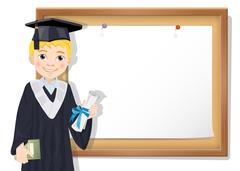 Graduate boy and cork board with paper Stock Illustration