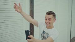Happy man take photo Stock Footage