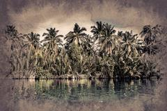 Palm trees on sea shore at beautiful sunny day - stock illustration