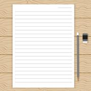 Paper line on wood table Stock Illustration