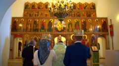 Orthodox wedding in the Church - stock footage