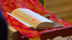 The Church, the Bible lies on the surface Stock Footage