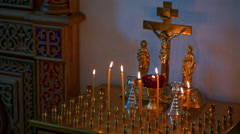 Burning Candles Before The Altar In The Church Stock Footage