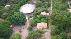 Aerial Chapada Diamantina mountains village circus Capão Valley Bahia Stock Footage
