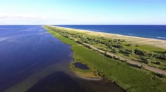 Aerial shoot of the Black Sea coastline and lake from copter Stock Footage
