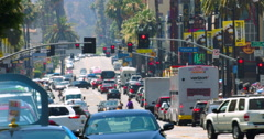 Traffic jam on Hollywood Boulevard during the heat wave Los Angeles 4k RAW Stock Footage