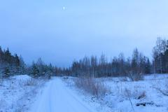 Snow dirt road at countryside - stock photo