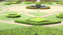 Public garden with beautiful decoration Stock Footage