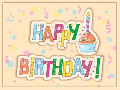 Birthday card with cake, candle and hand draw text Stock Illustration