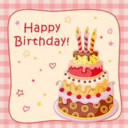 birthday card with cake tier, candles, cherry and text - stock illustration