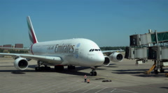The Airbus A380 of Emirates Airlines arrived Stock Footage