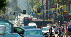 Traffic jam on Hollywood Boulevard during the heat wave in Los Angeles 4K RAW - stock footage