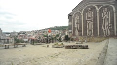 Veliko Tarnovo Town Old Street Walking Stock Footage