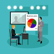 Vector banner concept with business presentations and meetings. Flat design of Stock Illustration