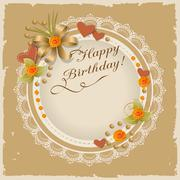 Birthday scrapbooking card with roses, hearts Stock Illustration