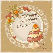 Birthday card with cake Stock Illustration