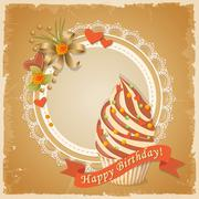 Birthday card with cake, hearts and ribbon Stock Illustration