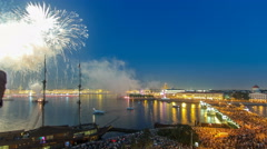 Fireworks timelapse over the city of St. Petersburg Russia on the feast of Arkistovideo