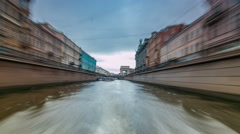 River trips on canals of St. Petersburg Russia timelapse hyperlapse Stock Footage