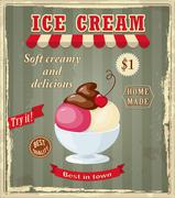 vintage banner with scoop cherry ice cream - stock illustration