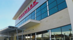 Cinemark Movie Theater Sign On Building - Downey CA - stock footage