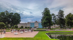 The Catherine Palace timelapse hyperlapse is a Rococo palace located in the town Stock Footage