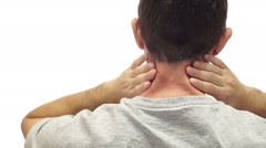 Male Neck Pain Isolated on White Stock Footage