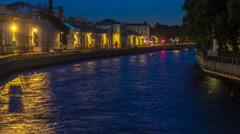 Fontanka river at night timelapse Stock Footage