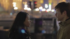 Serious conversation between two lovers, relationship and break-up, hard times Stock Footage