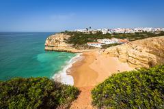 Praia de Benagil beach on atlantic coast, Algarve, Portugal Stock Photos