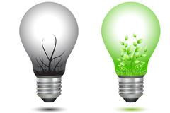Bulbs with green and dry tree Stock Illustration