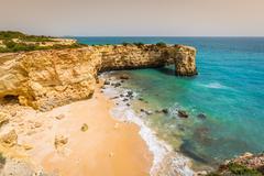 Praia de Albandeira - beautiful coast and beach of Algarve, Portugal - stock photo