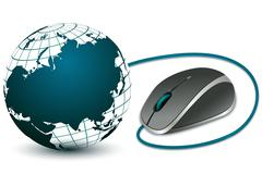 Computer mouse with globe Stock Illustration