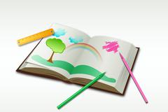 Drawing book with sketch and natural view Stock Illustration