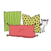 Beautiful pillows and cat on a white background Stock Illustration