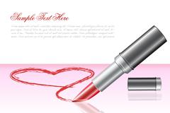 Love heart with lipstick Stock Illustration