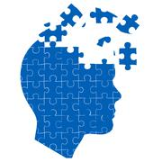 Man's mind with jigsaw puzzle Stock Illustration