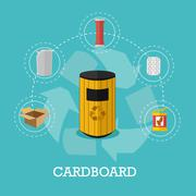 Garbage recycle concept vector illustration in flat style. Cardboard waste Stock Illustration