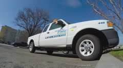 Low Angle Close Up Shot Of Downey California Code Enforcement Vehicle Stock Footage