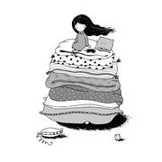 Princess on the Pea - stock illustration