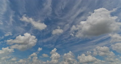 4K Cirrus and Cumulus Clouds Timelapse looking north - stock footage
