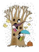 Magic Tree, rabbits and birds Stock Illustration
